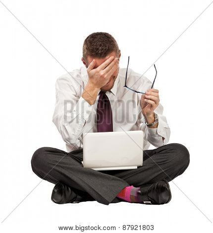 stressed businessman isolated on white background