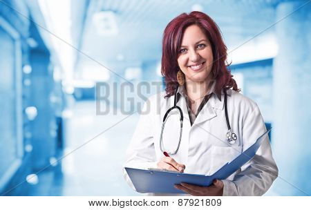 portrait of woman doctor in hospital