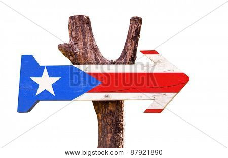 Puerto Rico Flag wooden sign isolated on white background
