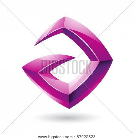Vector Illustration of a 3d Sharp Glossy Magenta Shape based on Letter A