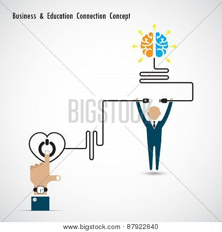 Businessman and creative light bulb symbol
