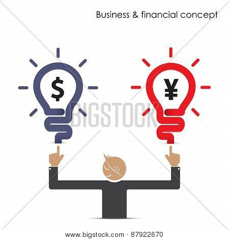 Businessman And Light Bulb Sign