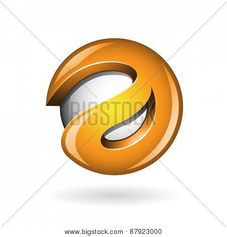 Round Glossy Letter A 3d Orange Shape Vector Illustration