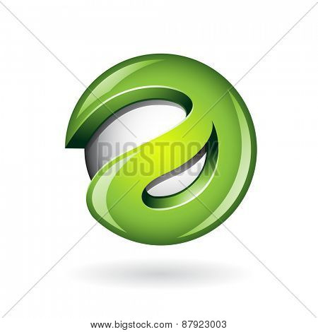 Round Glossy Letter A 3d Green Shape Vector Illustration