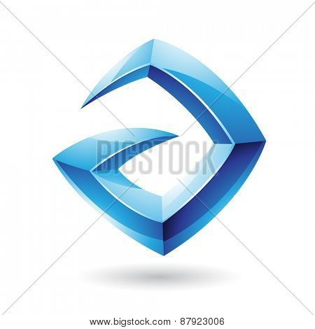 Vector Illustration of a 3d Sharp Glossy Blue Shape based on Letter A