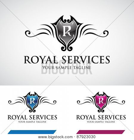 Glossy Swirly Royal Icon Vector Illustration