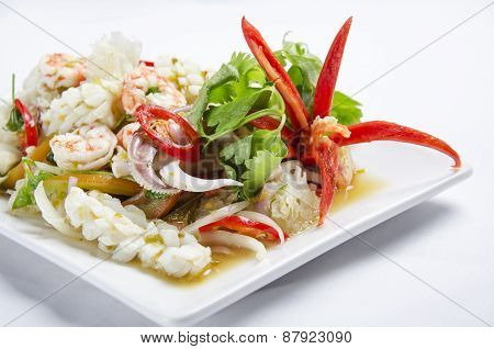 Stirred fried seafood