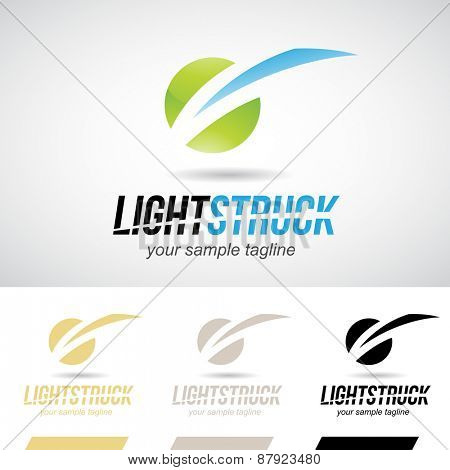 Green and Blue Glossy Lightning Bolt Icon Vector Illustration
