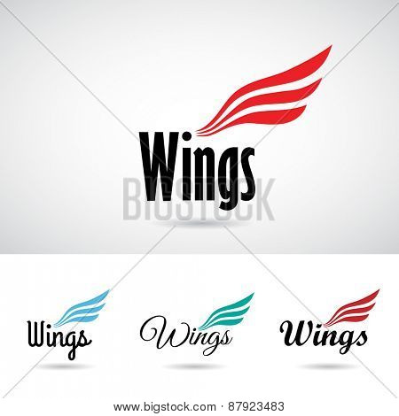 Colorful Wing Shape Icon Vector Illustration