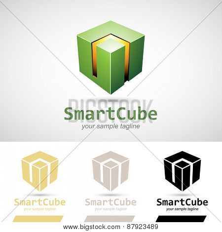 Green Shiny 3d Cube Icon Vector Illustration