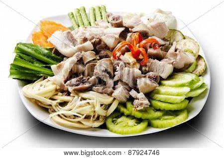 asian cuisine pig intestine with vegetable
