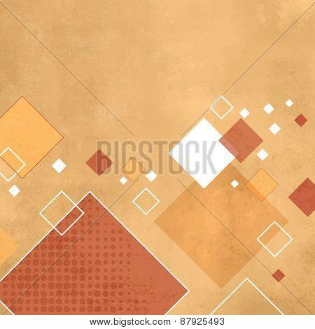 Yellow square background - retro rhombus pattern
