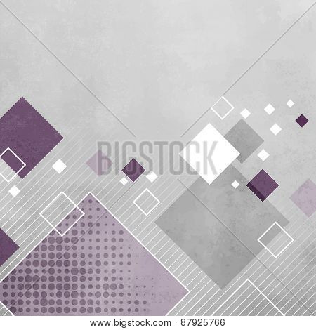 Abstract gray geometric background with purple squares