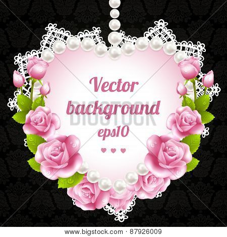 Pink rose and pearls frame on damascus background