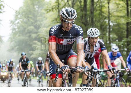 The Cyclist Sebastien Reichenbach Climbing Col Du Platzerwasel - Tour De France 2014