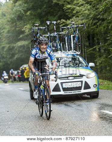 The Cyclist Tiago Machado Climbing Col Du Platzerwasel - Tour De France 2014