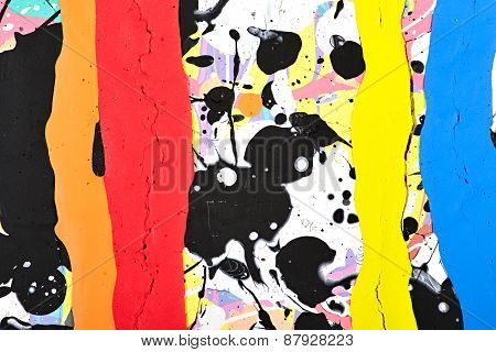 Abstract painting. Splashes and stripes of paint