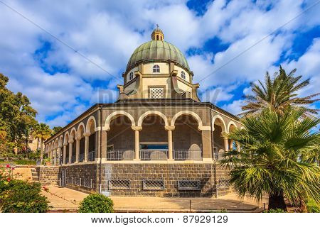 The Middle East, the Sea of Galilee. Basilica of the monastery of Mount Beatitudes. The magnificent dome surrounded by a gallery with columns