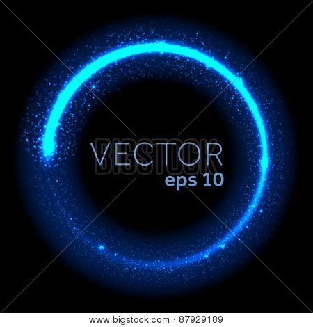 Neon blue glittering star dust circle