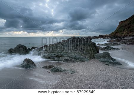 Grey Sky Over Portwrinkle In Cornwall