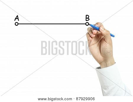 Businessman Drawing Line From A To B