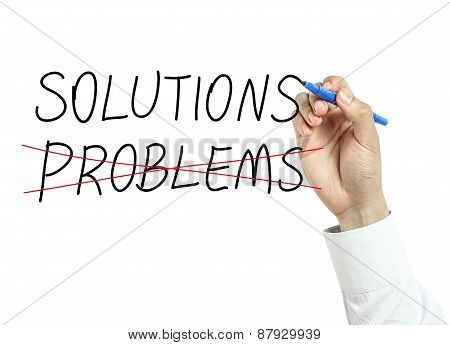 Businessman Drawing Solutions Concept