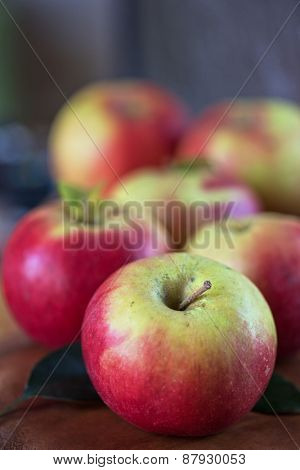 Fresh harvest of ripe apples. Nature fruit concept.