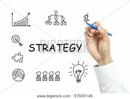 Businessman Drawing Strategy Concept