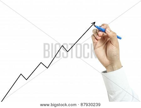 Businessman Drawing  Growth Graph