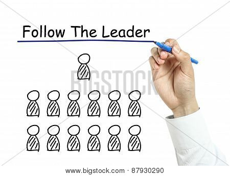 Businessman Drawing Follow The Leader Concept