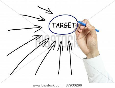 Businessman Drawing Target Concept