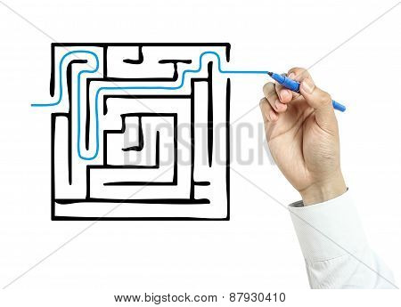 Businessman Drawing Solution Concept