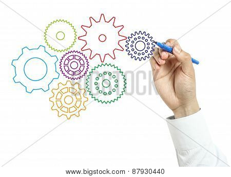 Businessman Drawing Gears