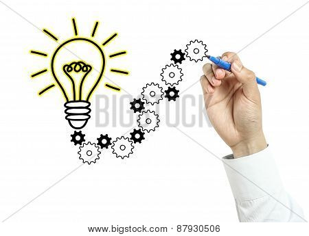 Businessman Drawing Light Bulb And Gears