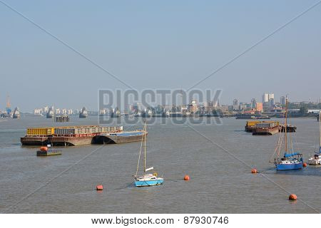 River Thames At Greenwich Peninsular. London. England
