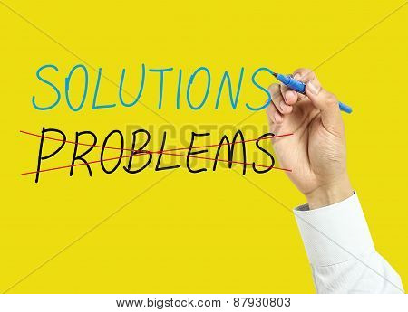 Businessman Hand Drawing Solutions Concept