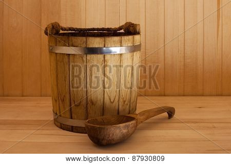 Wooden Bucket  With  Ladle