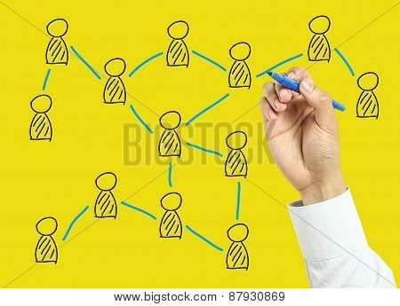 Businessman Hand Drawing Social Network Concept