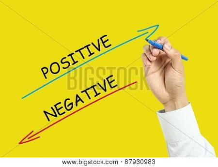 Businessman Hand Drawing Positive And Negative Concept