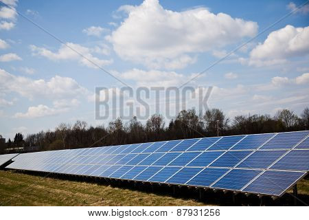 Solar Panels On A Field