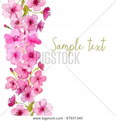 Vector frame with watercolor sakura blossom. Floral vector background.