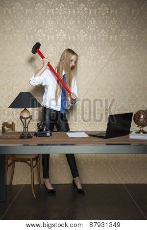 Rebellion At Work,secretary Destroys Office