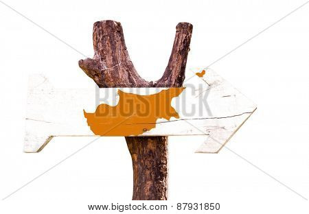 Cyprus Flag wooden sign isolated on white background