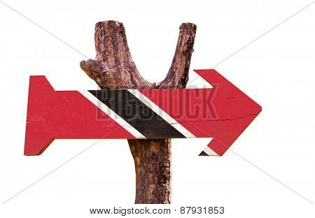 Trinidad and Tobago Flag wooden sign isolated on white background