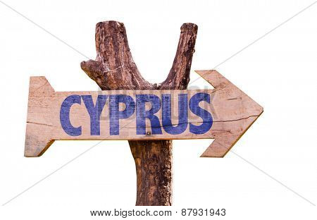 Cyprus wooden sign isolated on white background