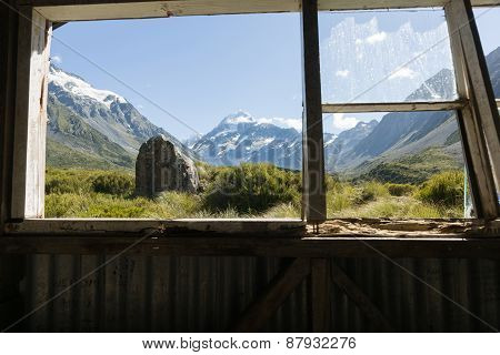 Mount Cook Through Hut Window.