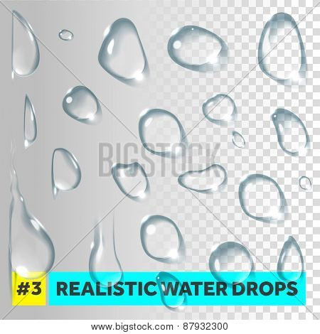 Pure clear water drops realistic set. Vector illustration