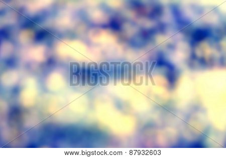 Natural Spring Or Summer Green And Blue Background With Abstract Defocused Lights Bokeh