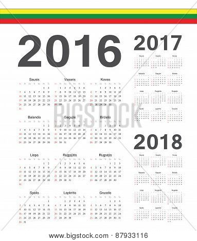 Set Of Lithuanian 2016, 2017, 2018 Year Vector Calendars