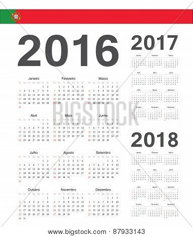 Set Of Portuguese 2016, 2017, 2018 Year Vector Calendars